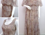 Vintage 70s Dress SIDGREENE Designer Chiffon Dress and Jacket MAXI Suit Long 1970s Beige Neutral Floral Gown Spring Summer Wedding Small