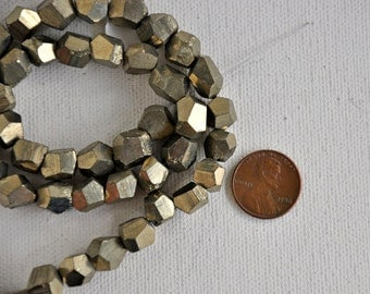 Golden Pyrite Faceted Nugget Stone 8-10mm Beads Full Strand