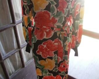 80s designer Flora Kung floral silk dolman sleeve dress.  XS/S