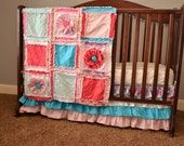 Girl RAG QUILT for Small Crib Blanket in Pink and Turquoise with Ruffled Flower