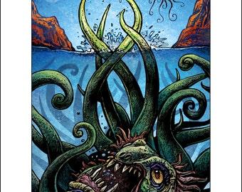 Martian Kraken 11 x 14 Signed Print