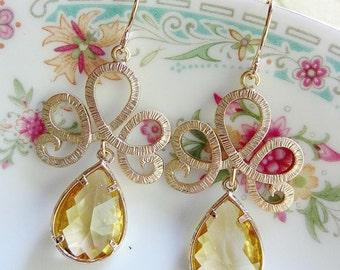 Gold Fan Earrings, Yellow Teardrop, Briesmaid Earrings, Light Yellow, Tiara Earrings, Wedding Jewelry, Special Occasion Earrings,
