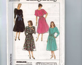 1980s Vintage Sewing Pattern Simplicity 9308 Misses Dolman Sleeve Pullover Dress Tie Front Size 6 8 10 12 14 1989 UNCUT 80s  99