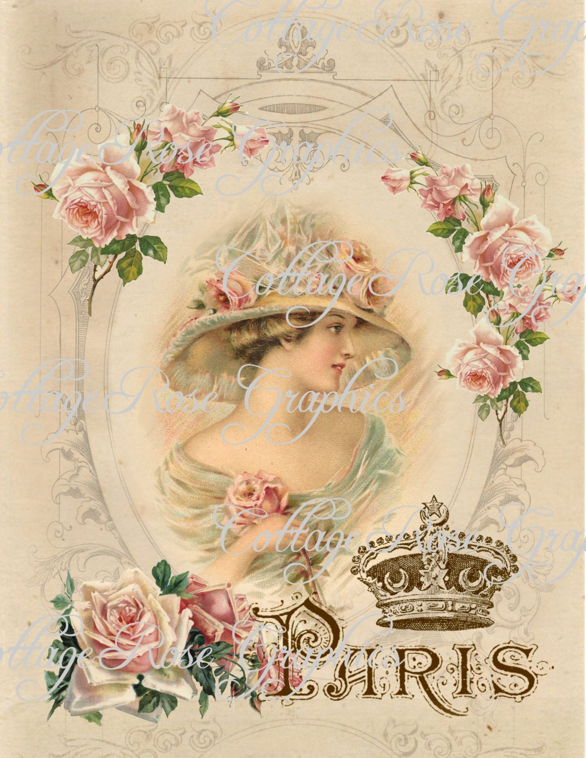 Large Digital Download Charmed In Paris French Pink Roses