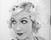 Super Glam, Ivory White Feather Headband, Bridal Head Piece, 1920's Flapper, Great Gatsby, Crystal Head Dress,  Batcakes Couture