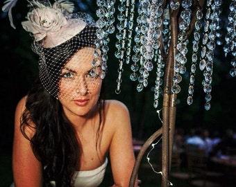 Pale Pink, Birdcage Veil, Feather Fascinator, Bridal Veil, Birdcage Veil, Silk Rose, Hat, High Fashion, Weddings, Batcakes Couture