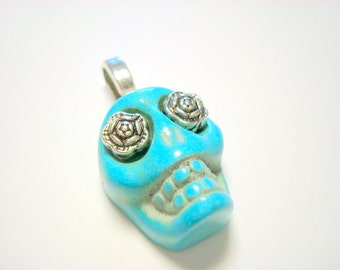 Silver Rose Eyes Turquoise Day of the Dead Sugar Skull Pendant