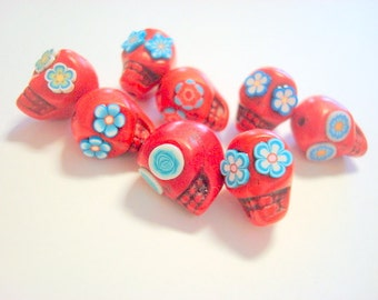 Red and Turquoise Blue Howlite Sugar Skull Beads-Collection of 8