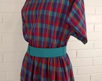 Vintage 60's Day Dress, Plaid, Summer Dress