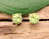 Peridot Earrings in Gold, Silver, Platinum, or Palladium with Genuine Gems, 4mm - Free Gift Wrapping