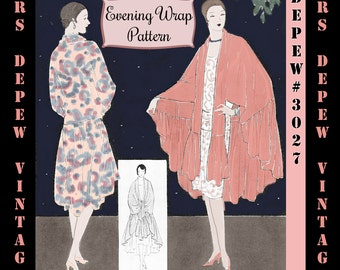 Vintage Sewing Pattern 1920's Evening Wrap or Cape Digital Pattern E-book Depew 3027 -INSTANT DOWNLOAD-