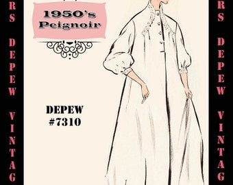Vintage Sewing Pattern 1950's Peignoir Nightgown in Any Size - PLUS Size Included - Depew 7310 -INSTANT DOWNLOAD-