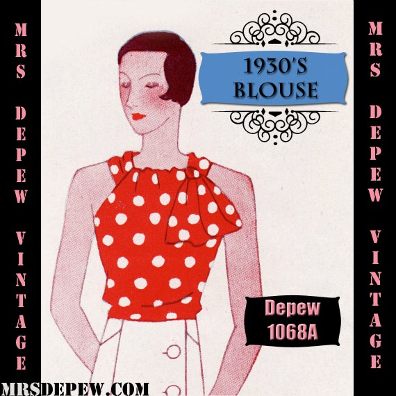 1930s Dresses, Clothing & Patterns Links Vintage Sewing Pattern 1930s Blouse in Any Size Depew 1068a Draft at Home Pattern - PLUS Size Included -INSTANT DOWNLOAD- $7.50 AT vintagedancer.com