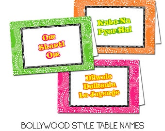10 Bollywood Table Name Cards