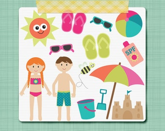Summer Clip Art Graphics Swim Pool Clip Art Little Kid Clipart Pool Party Clipart Personal and Commercial Use INSTANT DOWNLOAD