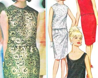 1960s Dress Pattern Butterick 3338 Two Piece Evening Dress Sleeveless Blouse Sheath Skirt Womens Vintage Sewing Pattern Bust 32