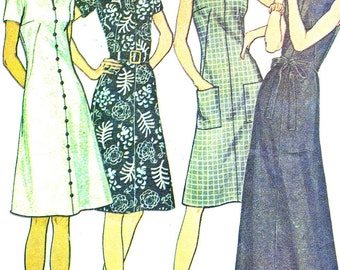 1970s Dress Pattern McCalls 3133 Mod Split Neck A Line Maxi Midi Dress Short Sleeves Sleeveless Womens Vintage Sewing Pattern Bust 34