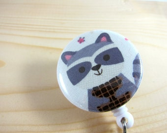 Retractable Badge Reel ID Badge Holder (Nurse Teacher Gift) - Grey Raccoon