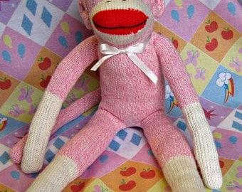 Sock Monkey Cynthia Handmade with Pink Red Heel Socks