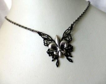 Fleur De Lis  Butterfly Charm Necklace - Steampunk Black Noir Jewelry