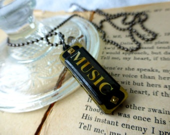 Unisex Harmonica Love of Music II Pendant Necklace