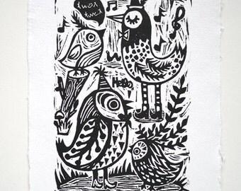 Party time- Original Linocut print