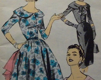 Sale! Dramatic Collar 1950's Evening Cocktail Party Day or Evening  Dress Wiggle Sheath or Full Skirt ADVANCE Vintage Pattern UNCUT FF
