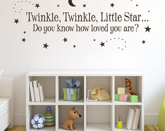 Twinkle Twinkle Little Star Wall Decal - Baby Room Decal - Boy Nursery Quote with Moon and Stars - Girl Nursery Wall Decal - Nursery Decor