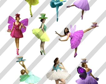 Digital Collage Sheet Colorful Ballerina Images (Sheet no. O207) instant Download