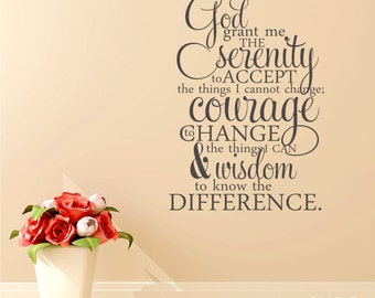 Serenity Prayer Wall Decal Quote  - Vinyl Word Art