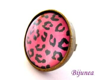 Animal print ring - Pink Animal print ring - Pink Stripes ring - Animalpink  print fur ring r780