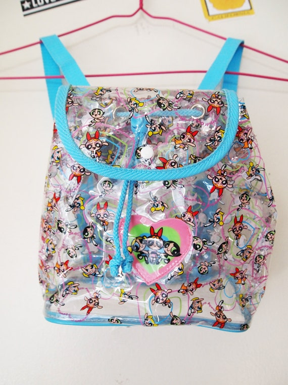 POWERPUFF GIRLS // Vintage 90s Clear See Through Mini Backpack