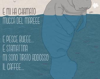 Sad manatee postcard funny sea animal illustration on blue background print