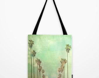 tote bag, Los Angeles shopping bag, LA photography, market tote, grocery bag, baby bag, book bag, mint green palm trees, travel bag, gym bag