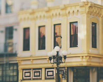 San Diego photograph, Gaslamp Quarter photo, California photography, yellow decor, San Diego print, SoCal artwork, travel gift, architecture