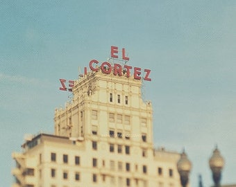 San Diego photography, El Cortez apartment hotel, architecture, spanish colonial revival, downtown San Diego, California print, blue red