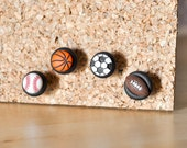 Sports Fan Push Pins. Baseball, Soccer, Basketball, Football Home Office Organization in Black Polymer Clay. Unisex Handmade Gift Set of 4