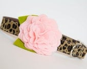 Dog Collar with Flower - Pink Leopard