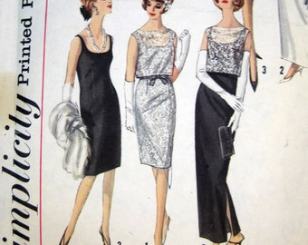 50s 60s Pattern Vintage Sheath Cocktail Evening Dress Blouse Simplicity 5698 sz 12 B 32
