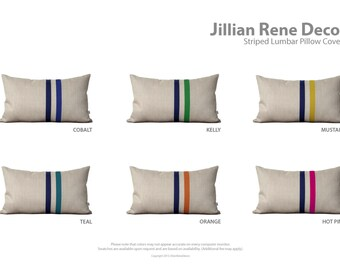 Custom Striped Lumbar Pillow - 12x20 - Modern Home Decor by JillianReneDecor - Colorful Colorblock Stripes (More Colors)
