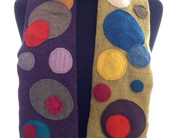 Multicolor Polka Dot Upcycled Sweater Funky Warm Wool Winter Scarf Colorful Dotty