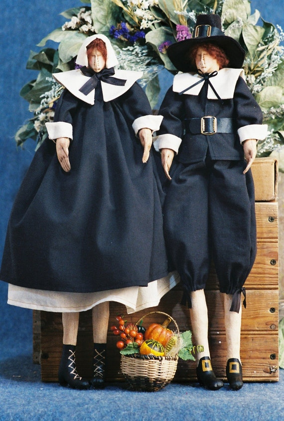 Cloth Doll E-Pattern Traditional Thanksgiving Pilgrim Couple