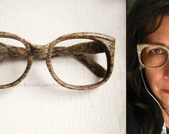 YSL Round Tan Cat Eye Woodgrain Eyeglass Frames France Oversized Vintage 1960's