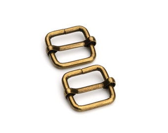 "50pcs- 5/8"" Adjustable Slide Buckle - Antique Brass - Free Shipping (SLIDE BUCKLE SBK-110)"