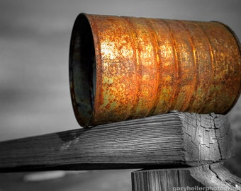 Orange Appeal, Pop Art, Old Rusted Can, Selective Color, Rust, Color photography print, signed.