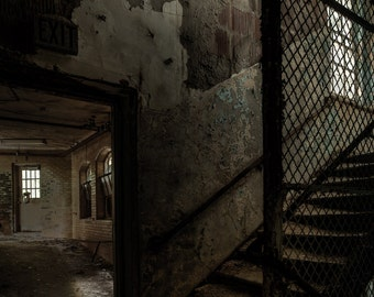 Stairs and Corridor, Abandoned Asylum Urban Exploration, HDR, Fine Art Color Photography Print, Free Shipping