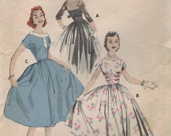 1950s Butterick 8119 Vintage Sewing Pattern Misses Bouffant Dress Size 12 Bust 32