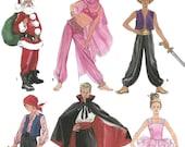 Simplicity 9803 Boys & Girls Fantasy Costumes, sizes 2-4, 6-8, 10-12, Santa - harem girl- sultan - pirate - vampire - ballerina
