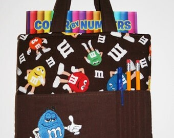 Crayon Tote Bag, Tote Bag, Crayon Holder, M+M's Crayon Bag, Blue M&M,  Ready to Ship