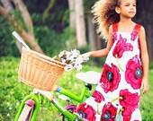 Girls Vintage Dress - Red Maxi Dress - Poppies Dress
